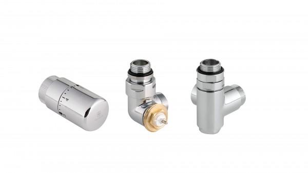 "Set Winkeleck-Thermostatventil CYLINDER GZ 1/2""-Durchm. 16x2, Durchm. 15 Rechts"