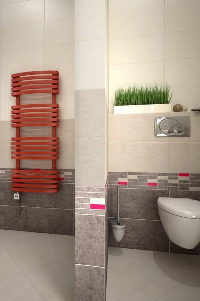 Handtuchheizkörper Kioto Farbe Orange im Badezimmer Blickfang