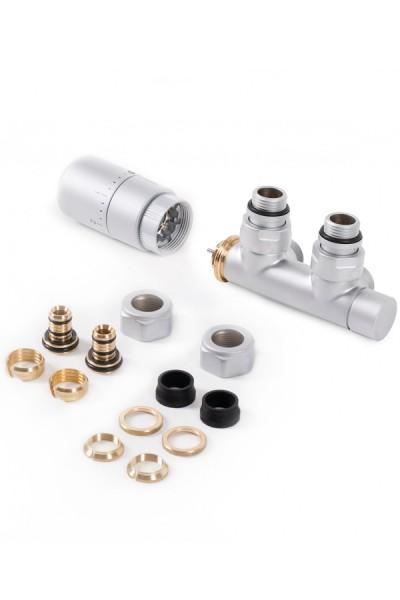 """Set Thermostat-Eckventil 50 mm CYLINDER GZ 1/2""""-Durchm. 16x2, Durchm. 15 Rechts-Silber"""
