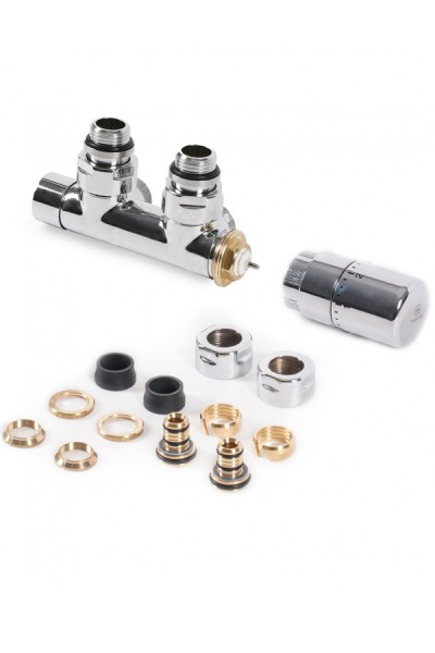 "Set Thermostat-Eckventil 50 mm CYLINDER GZ 1/2""-Durchm. 16x2, Durchm. 15 Links-Chrom"