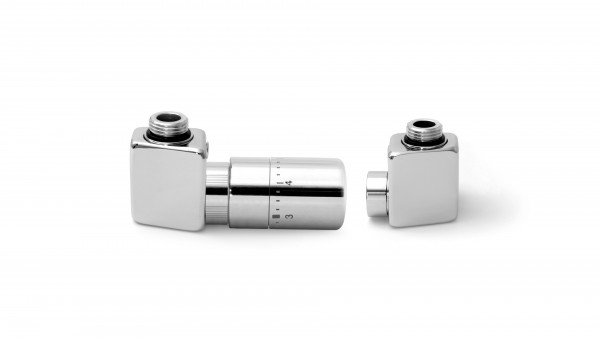"Set Winkeleck-Thermostatventil DEXTER GZ 1/2""-Durchm. 16x2, Durchm. 15 Links-Silber"