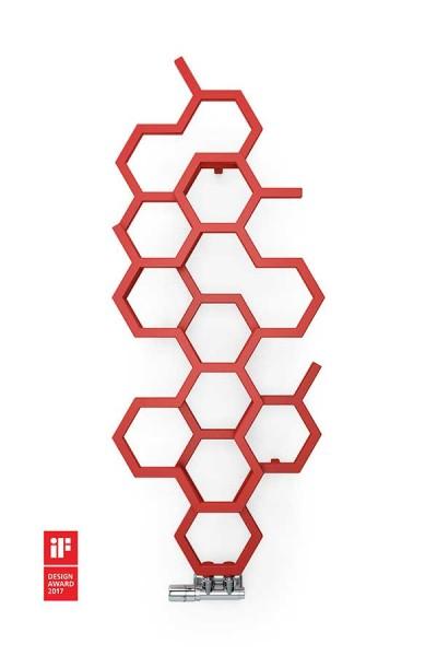 Designheizkörper HEX in rot an der Wand