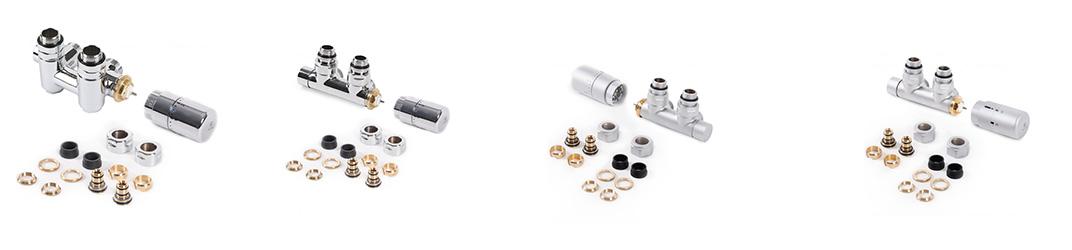 Armatur Set für Heizkörper, Set-Eckventil, Set-Durchgangsventil mit Thermostatkopf