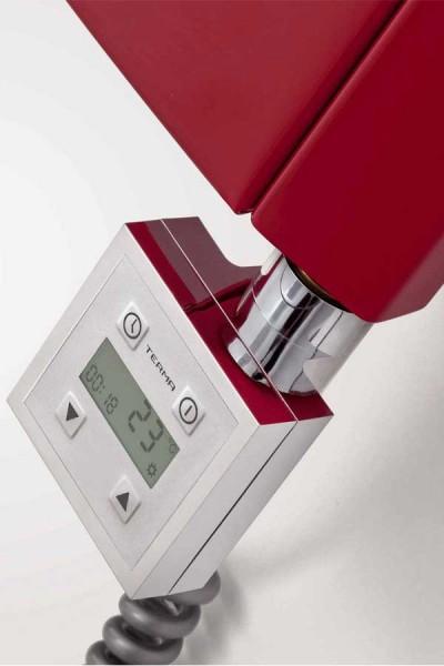 Heizpatrone KTX-3 installiert an einem rotem Design Heizkörper
