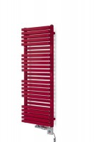 Design Badheizkörper in rot mit Thermostatventil und Heizpatrone
