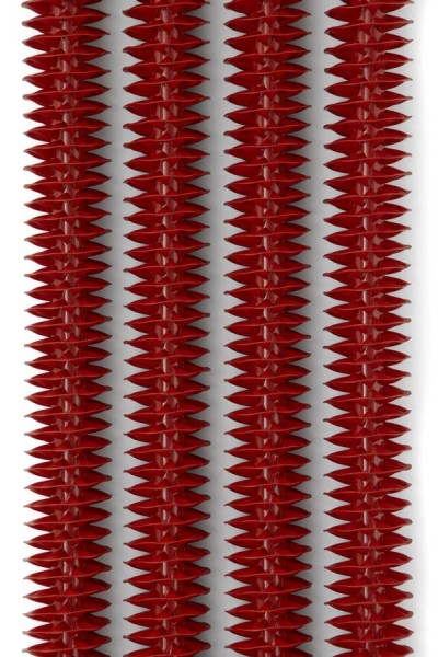 Designheizkörper Ribbon V RAL 3028 mit Thermostatventil in Chrom frontal