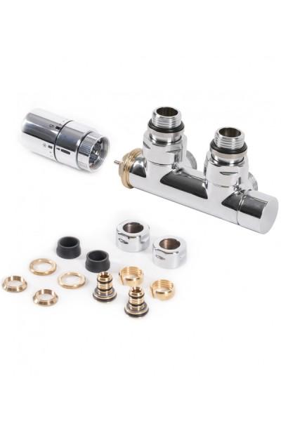 """Set Thermostat-Eckventil 50 mm CYLINDER GZ 1/2""""-Durchm. 16x2, Durchm. 15 Rechts-Chrom"""