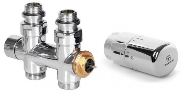 """Set Thermostat-Durchgangsventil 50 mm CYLINDER GZ 1/2""""-Durchm. 16x2, Durchm. 15 Rechts-Satiniert"""