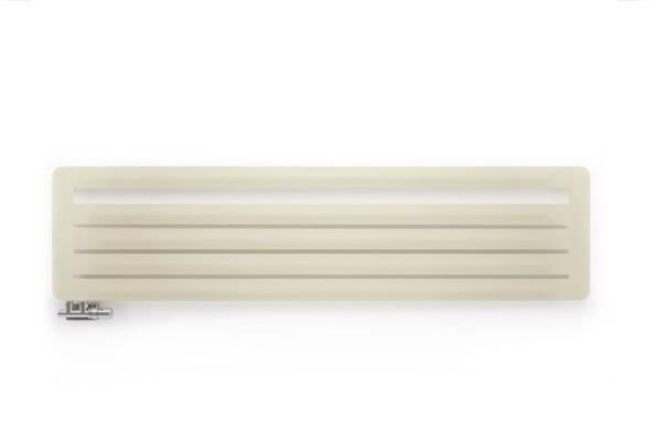 horizontaler Designheizkörper Aero HG, Farbe Morning Beige, frontal, mit Thermostatventil