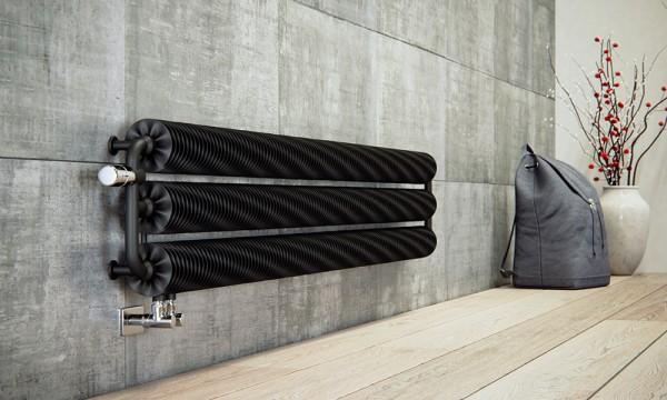 horizontaler Designheizkörper Ribbon HWS RAL 9005 forntal