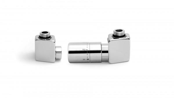 """Set Winkeleck-Thermostatventil DEXTER GZ 1/2""""-Durchm. 16x2, Durchm. 15 Rechts-Silber"""