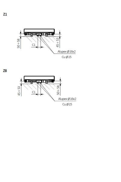 Case Slim Beton Flachheizkörper technische Zeichnung von unten