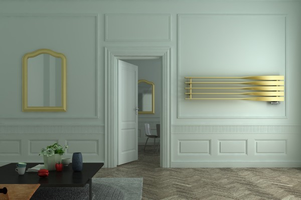 horizontaler Designheizkörper Cyklon H in Gold Gloss