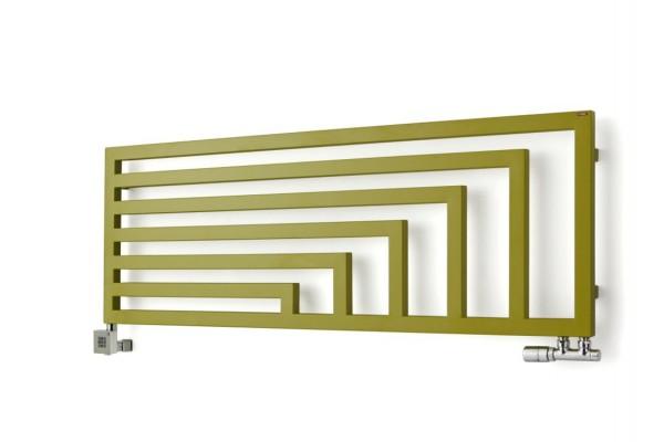 horizontaler Design-Heizkörper Angus H, frontal, Farbe Green Apple, mit Thermostatventil