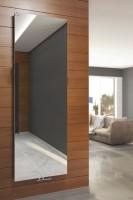 Flachheizkörper Case Slim Spiegel an der Wand auf Holz