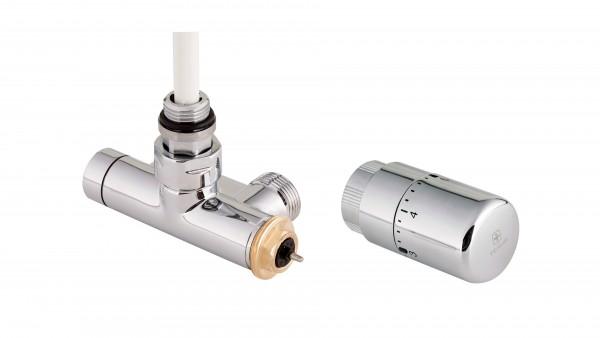 """Thermostat-Eckventil mit Lanze 50 mm CYLINDER GZ 1/2""""-GZ 3/4"""" Rechts-Silber"""