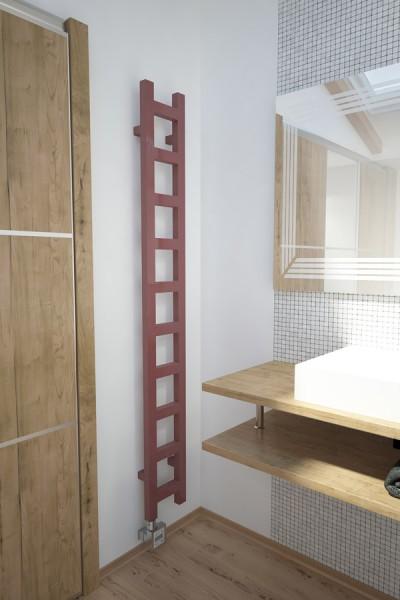 Badheizkörper Easy in Bad neben Waschtisch aus Holz