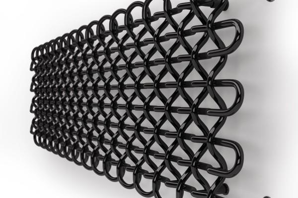 horizontaler Design Heizkörper PLC H in Schwarz mit Thermostatventil Seitenansicht