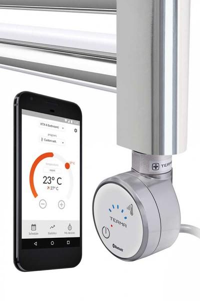 Heizpatrone Blue mit Smartphone App am Heizkörper in Chrom