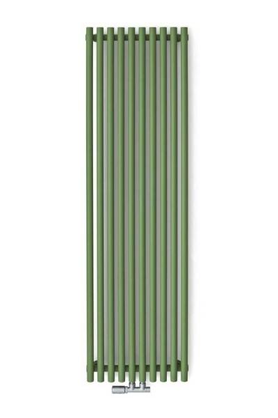 Designheizkörper Tune VWS in grün an der wand montiert mit Ventil in Chrom
