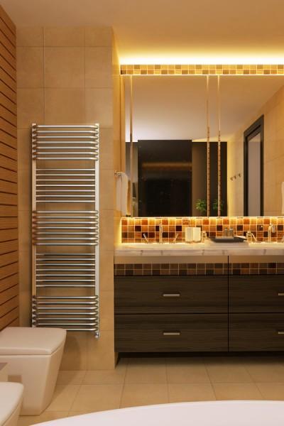 arrangiertes Foto in einem Badezimmer mit Handtuchtrockner Pola